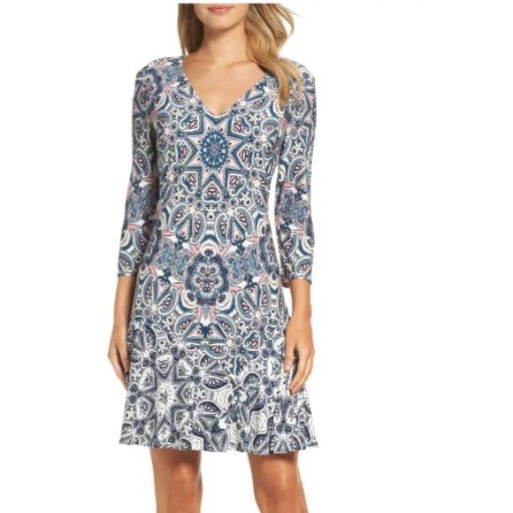 ELIZA J Print Knit A-Lin Minidress size 4